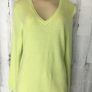 Charter Club Cashmere Yellow Chartreuse Vneck